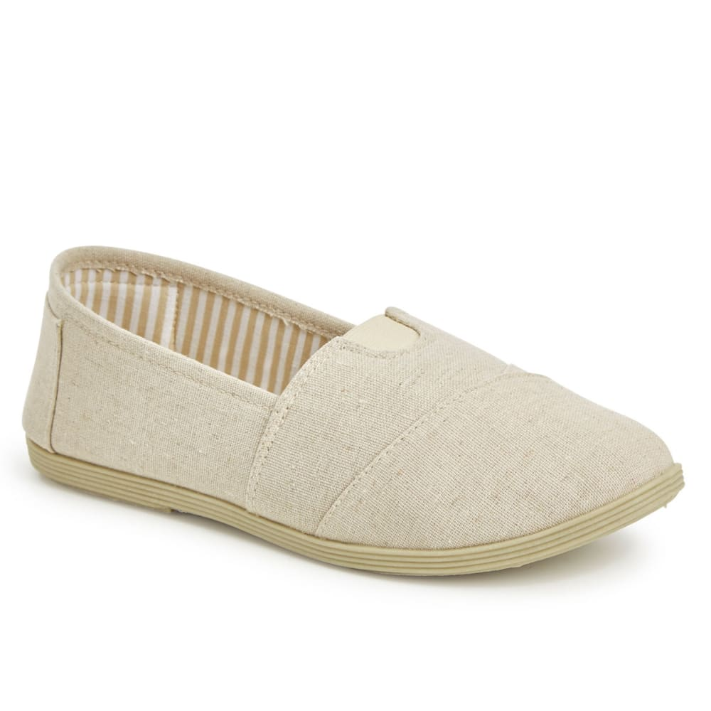 OLIVIA MILLER Women's Natural Linen Slip On Shoes 7