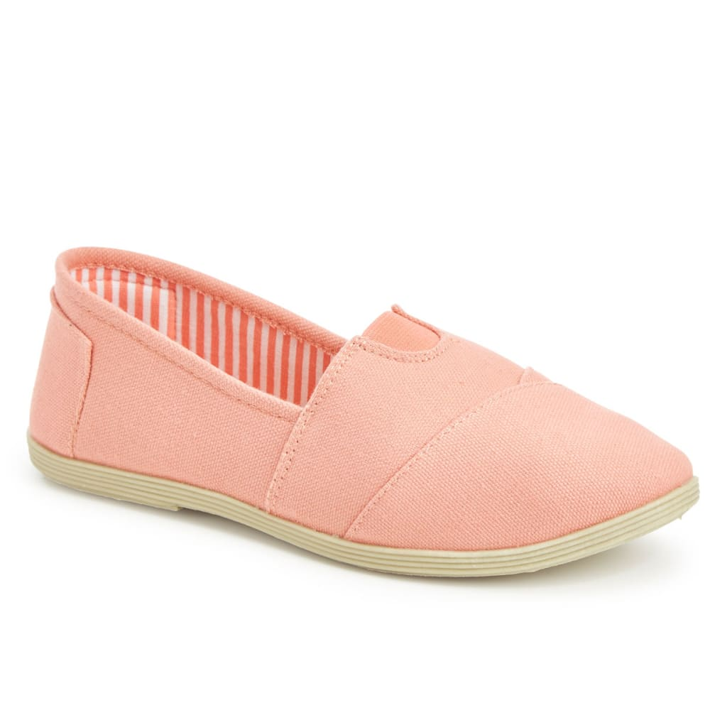 OLIVIA MILLER Juniors' Canvas Slip On Shoes - CORAL