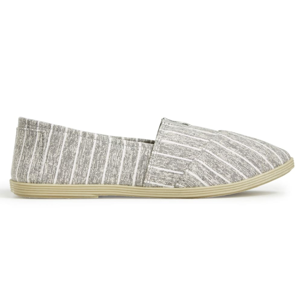 OLIVIA MILLER Women's Stripe Canvas Slip On Shoes - GREY STRIPE