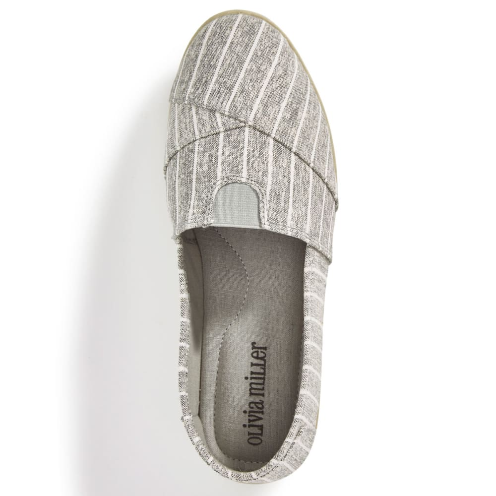 OLIVIA MILLER Women's Stripe Canvas Slip On Shoes - GREY STRIPE