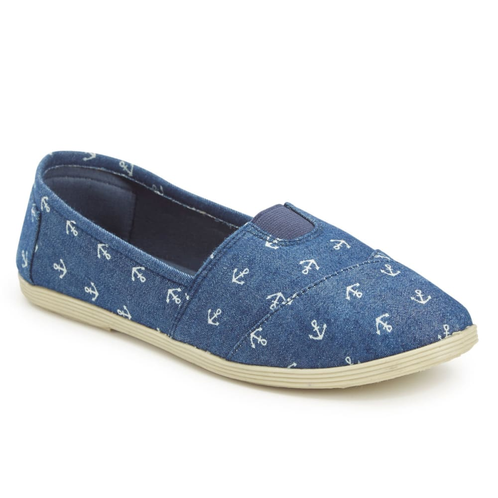 OLIVIA MILLER Women's Anchor Denim Slip On Shoes - DENIM