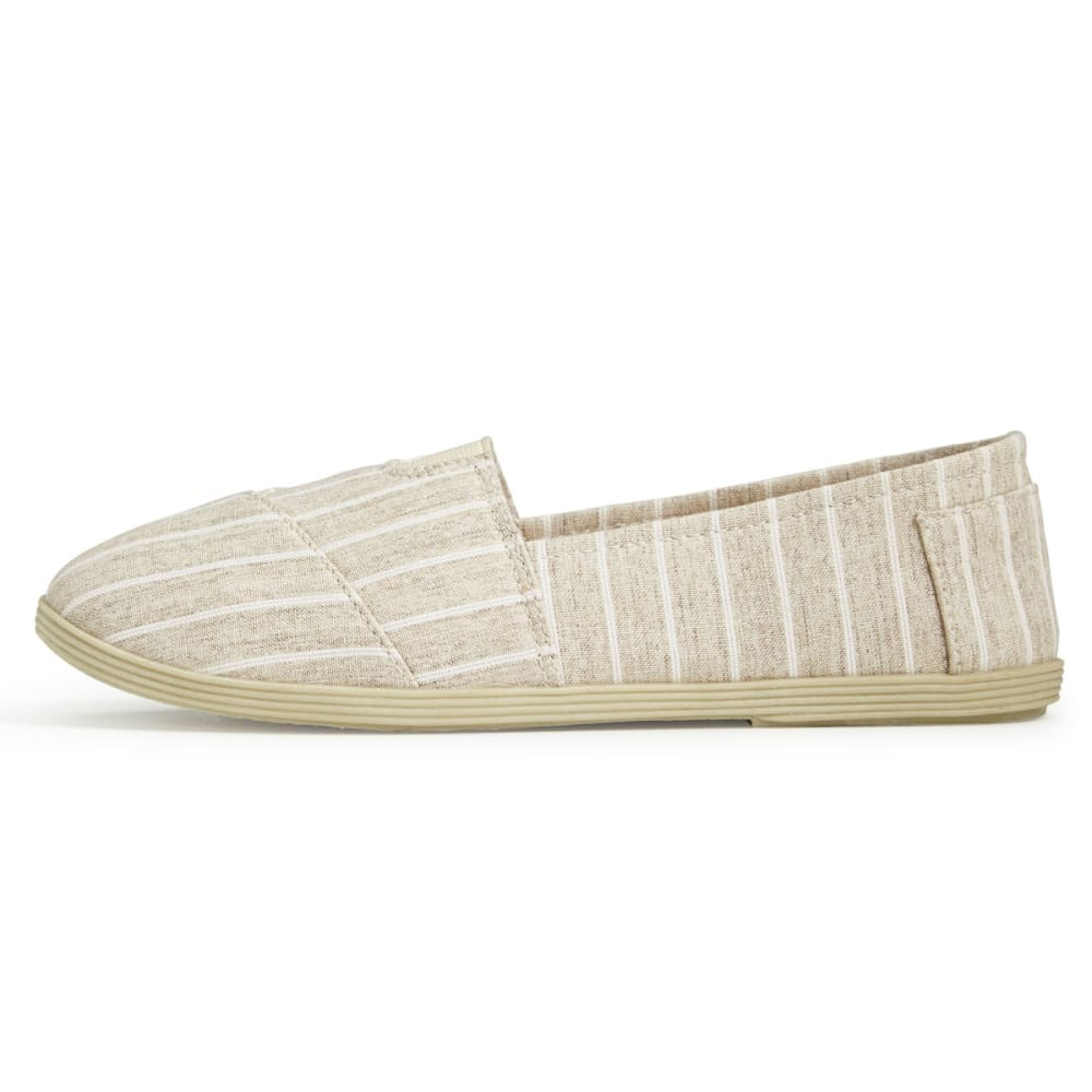 OLIVIA MILLER Women's Stripe Canvas Slip On Shoes - NATRUAL STRIPE