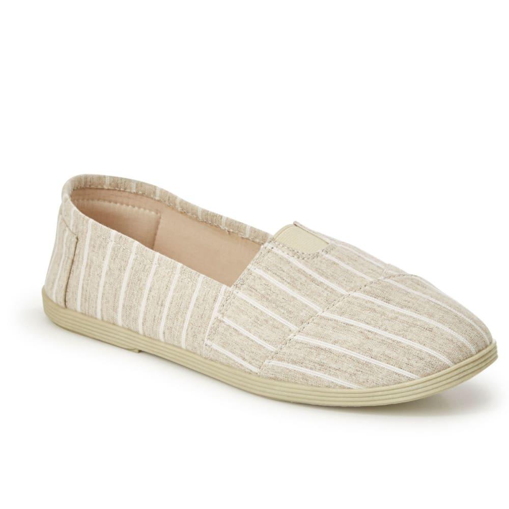OLIVIA MILLER Women's Stripe Canvas Slip On Shoes - NATRUAL STRIPE