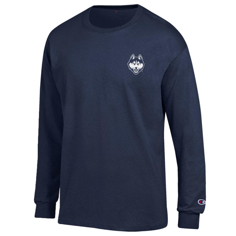 CHAMPION Men's UConn Back Logo Long-Sleeve Tee - NAVY