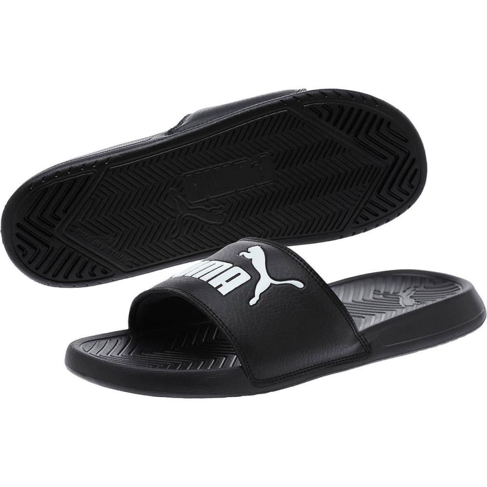 PUMA Men's Popcat Slide Sandals, Black/White - BLACK