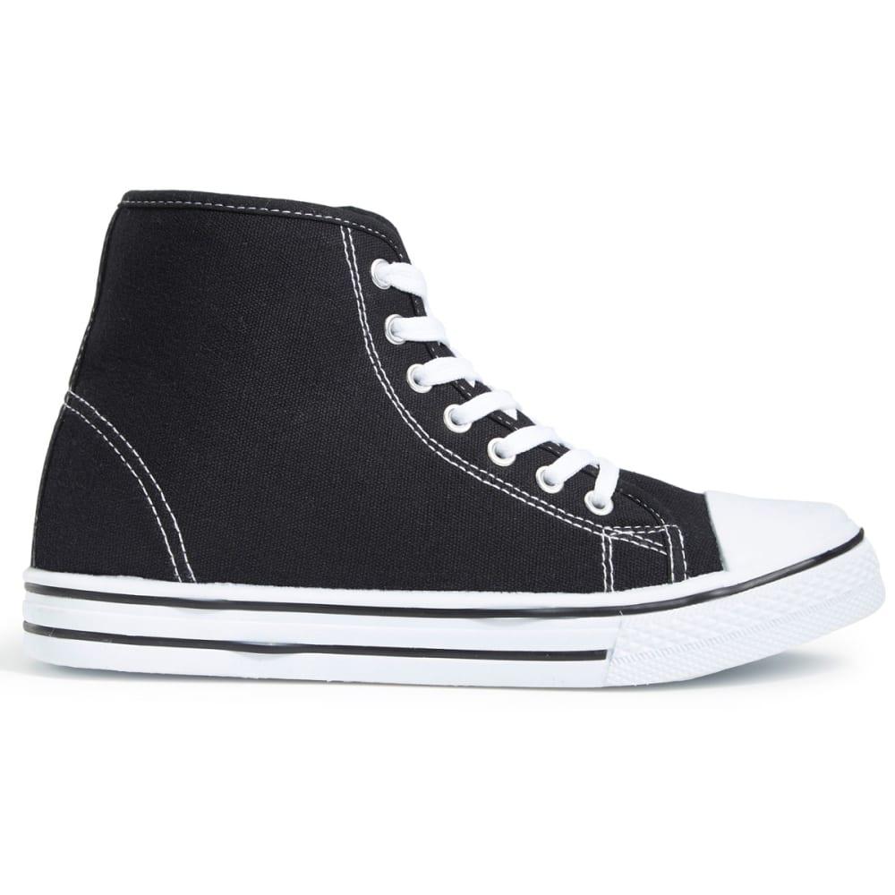 OLIVIA MILLER Women's Canvas Hi-Top Sneakers, Black - BLACK