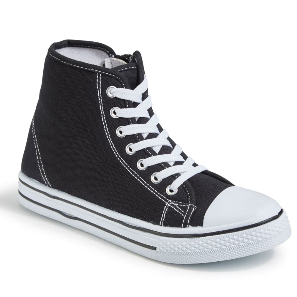 OLIVIA MILLER Women's Canvas Hi-Top Sneakers, Black - BLACK