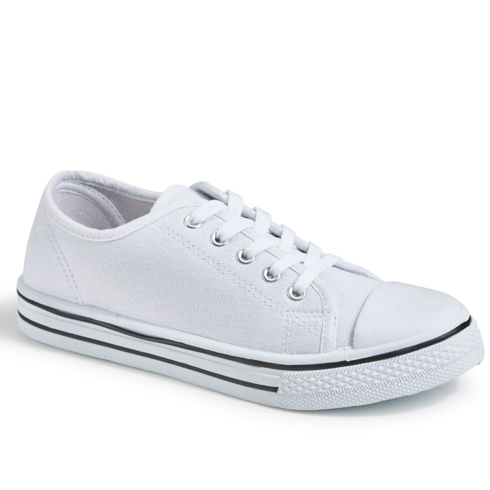 OLIVIA MILLER Women's Canvas Low-Top Sneakers, White - WHITE