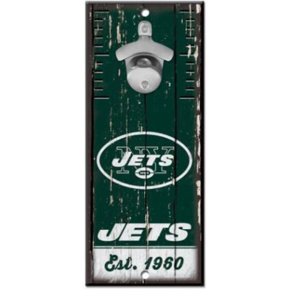 NEW YORK JETS Wood Sign with Bottle Opener - GREEN