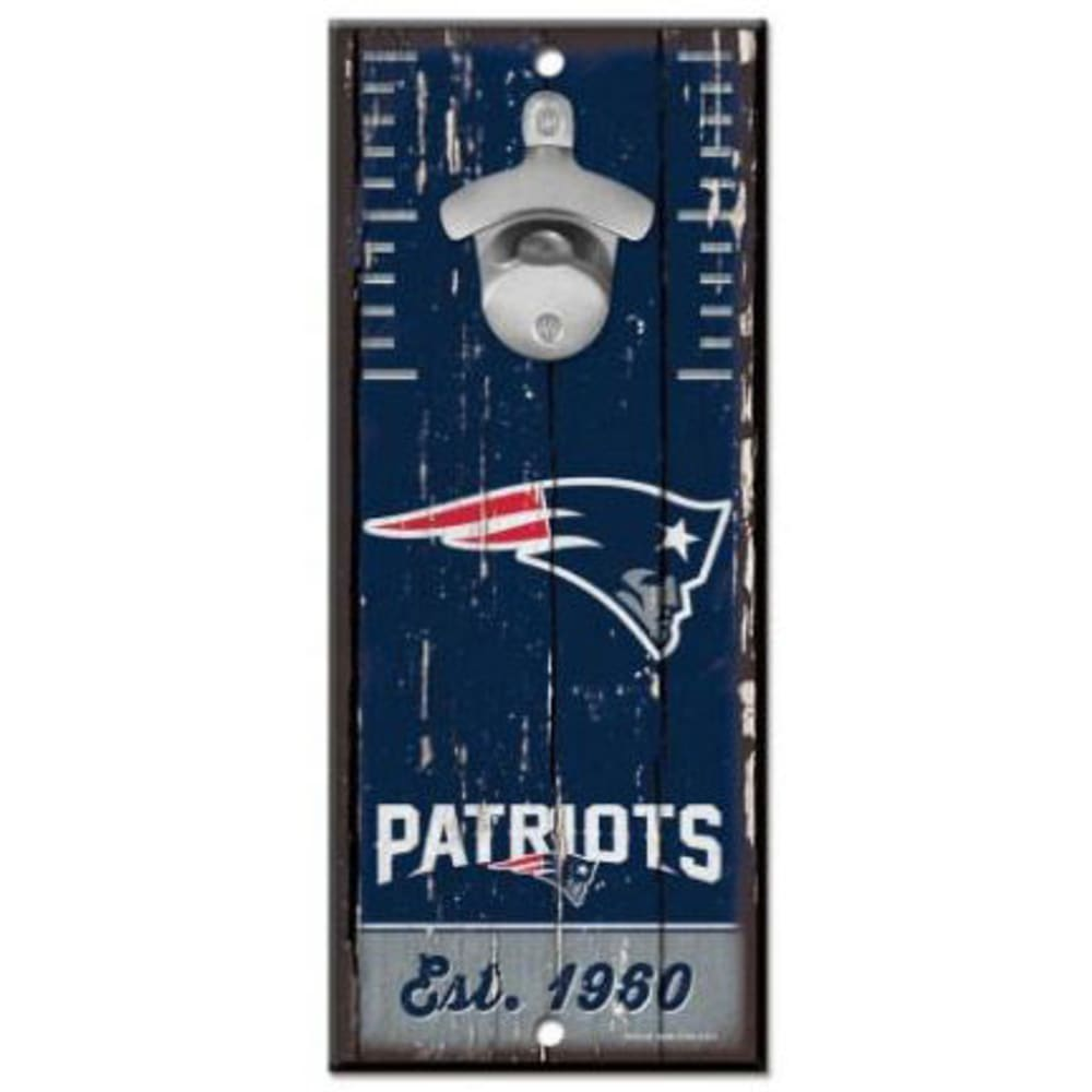 NEW ENGLAND PATRIOTS Wood Sign with Bottle Opener - NAVY