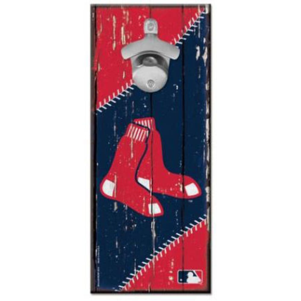 BOSTON RED SOX Wood Sign with Bottle Opener - NAVY