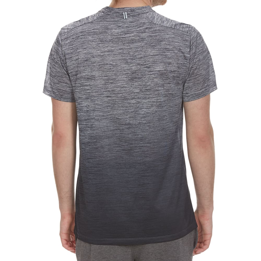 RBX Men's Poly Striated Dip-Dye Crewneck Short-Sleeve Tee - GREY/GRAPHITE