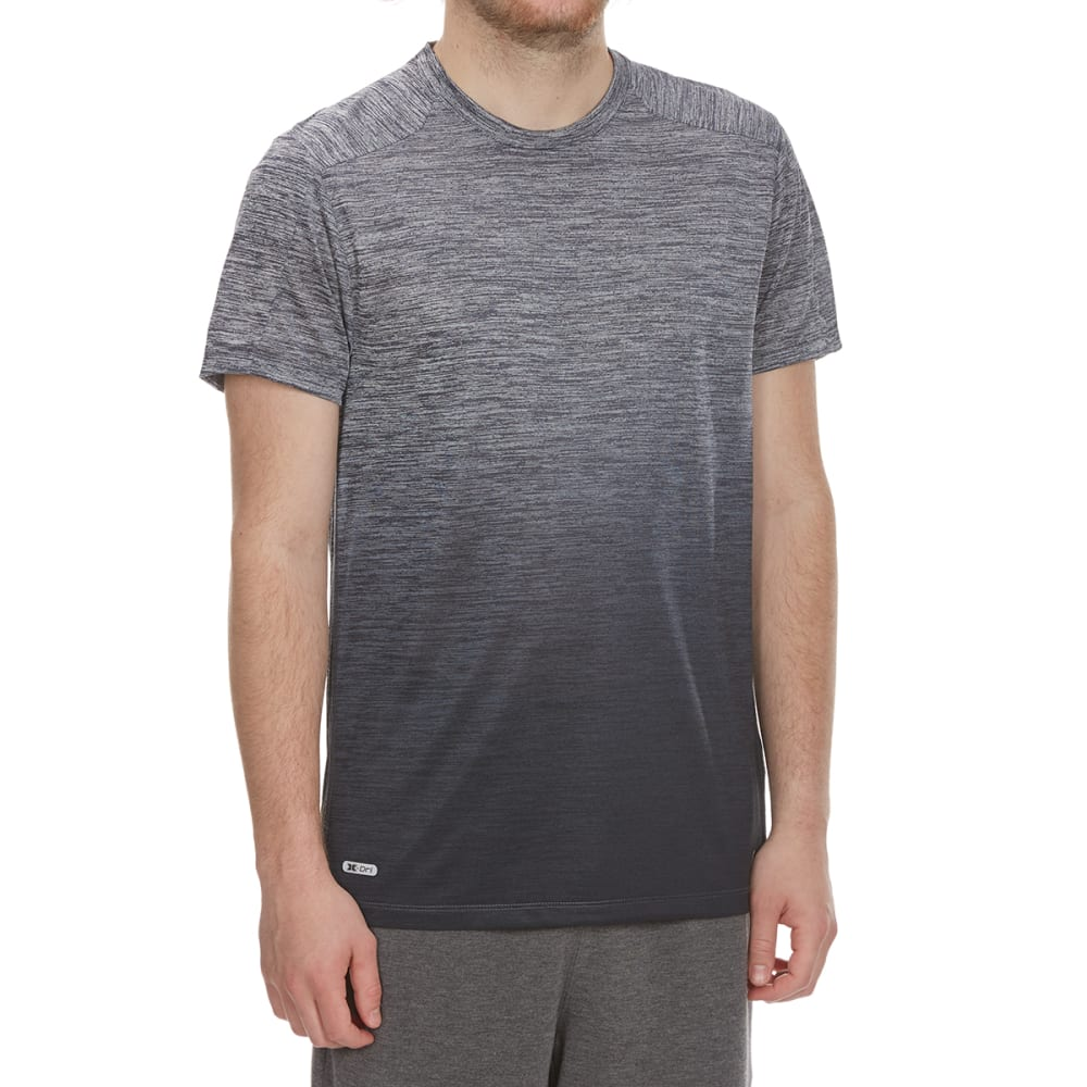 RBX Men's Poly Striated Dip-Dye Crewneck Short-Sleeve Tee - GREY/GRAPHITE