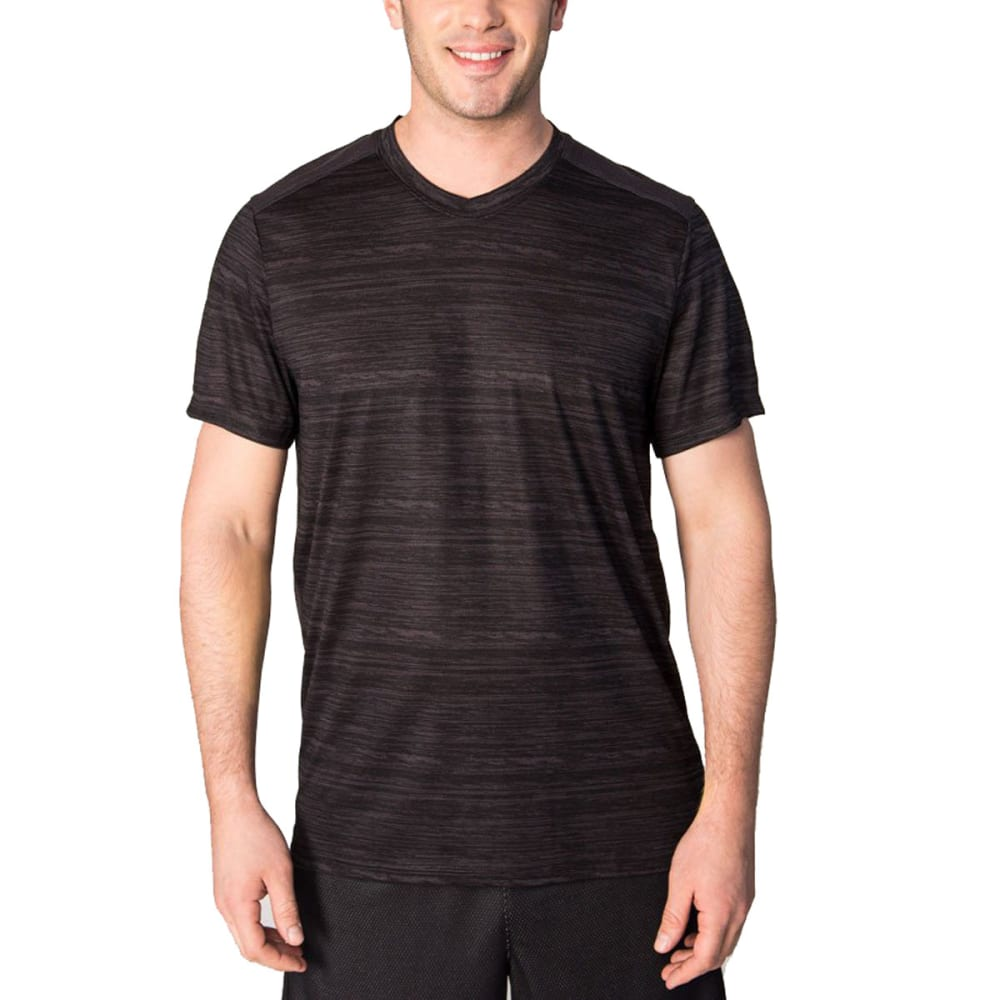 RBX Men's Poly Striated Fitted V-Neck Short-Sleeve Tee - GRAPHITE