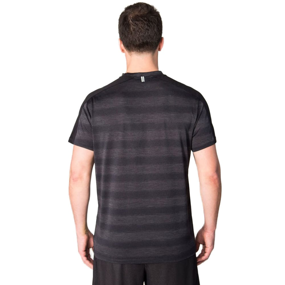 RBX Men's Prime Closed Mesh Striped T-Shirt - CHARCOAL HEATHER