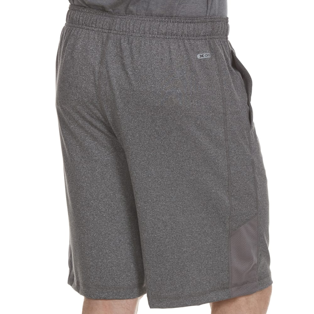 RBX Men's 9 in. Poly Shorts with Self-Fabric Insert - CHARCOAL HEATHER