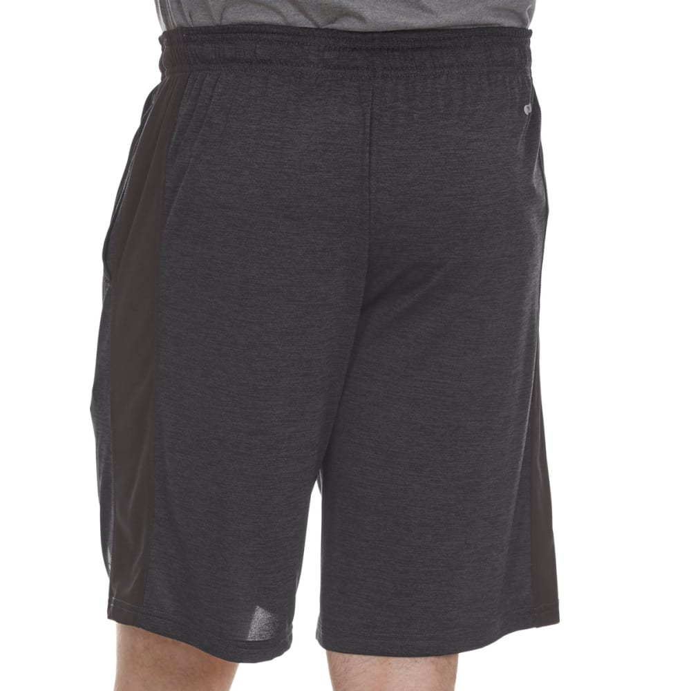 RBX Men's 9 in. Poly Double-Dye Striated Printed Shorts - CHAR/BLACK