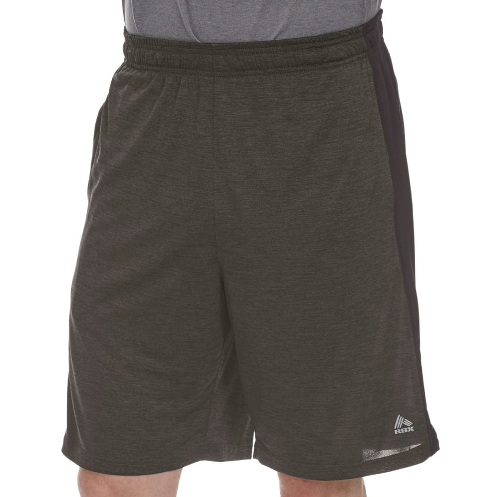 RBX Men's 9 in. Poly Double-Dye Striated Printed Shorts - FOREST GRN/BLK