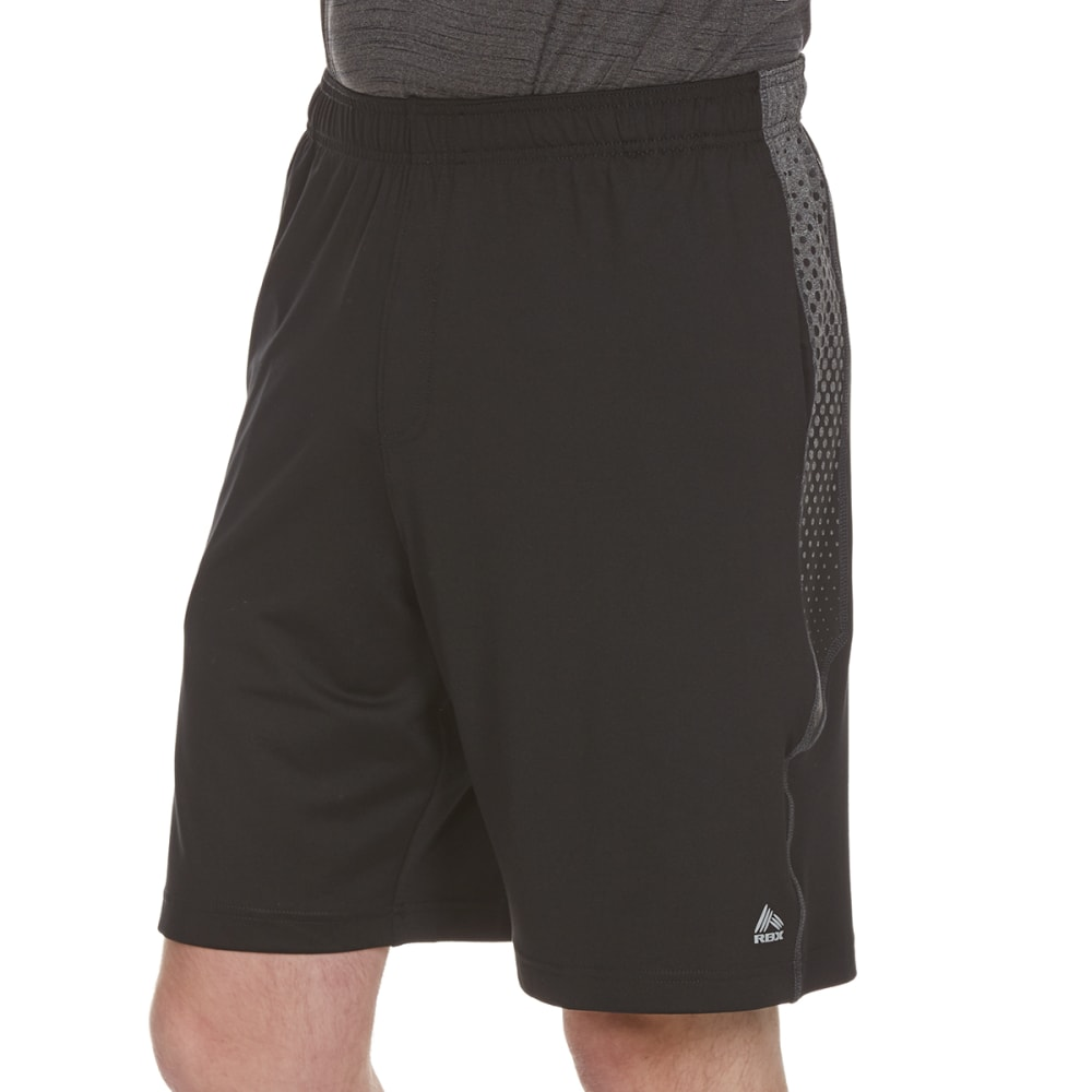 RBX Men's 9 in. Poly Shorts with Printed Mesh Insert - BLK/CHAR HTR