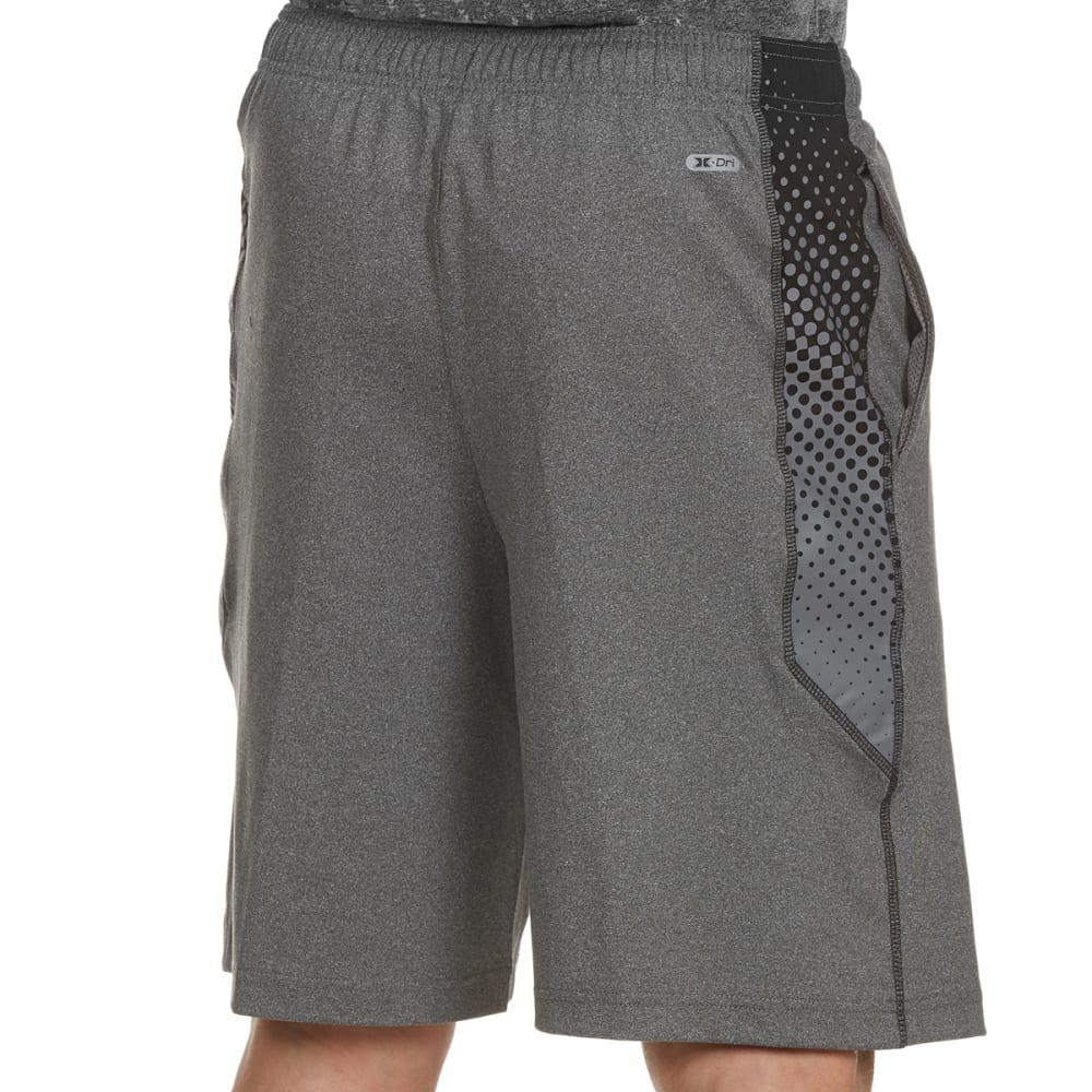 RBX Men's 9 in. Poly Shorts with Printed Mesh Insert - CHARCOAL HTR/BLACK