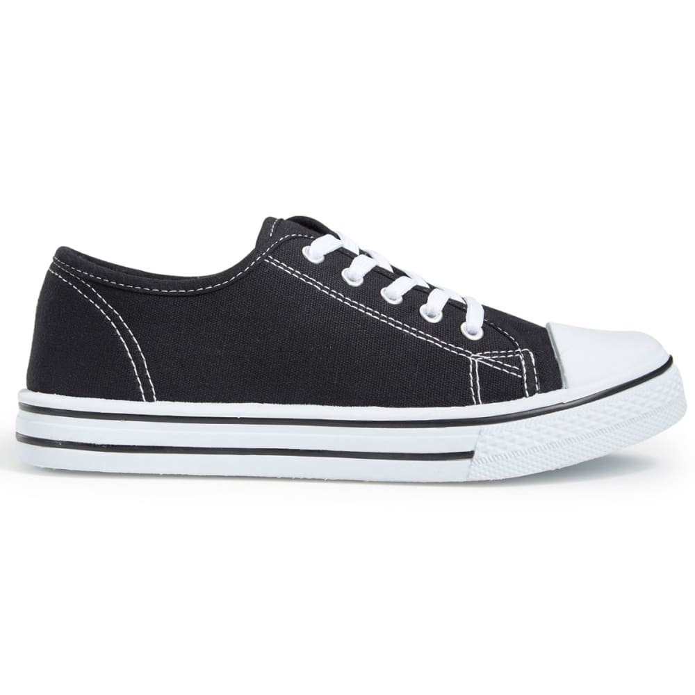 OLIVIA MILLER Women's Canvas Low-Top Sneakers, Black - BLACK