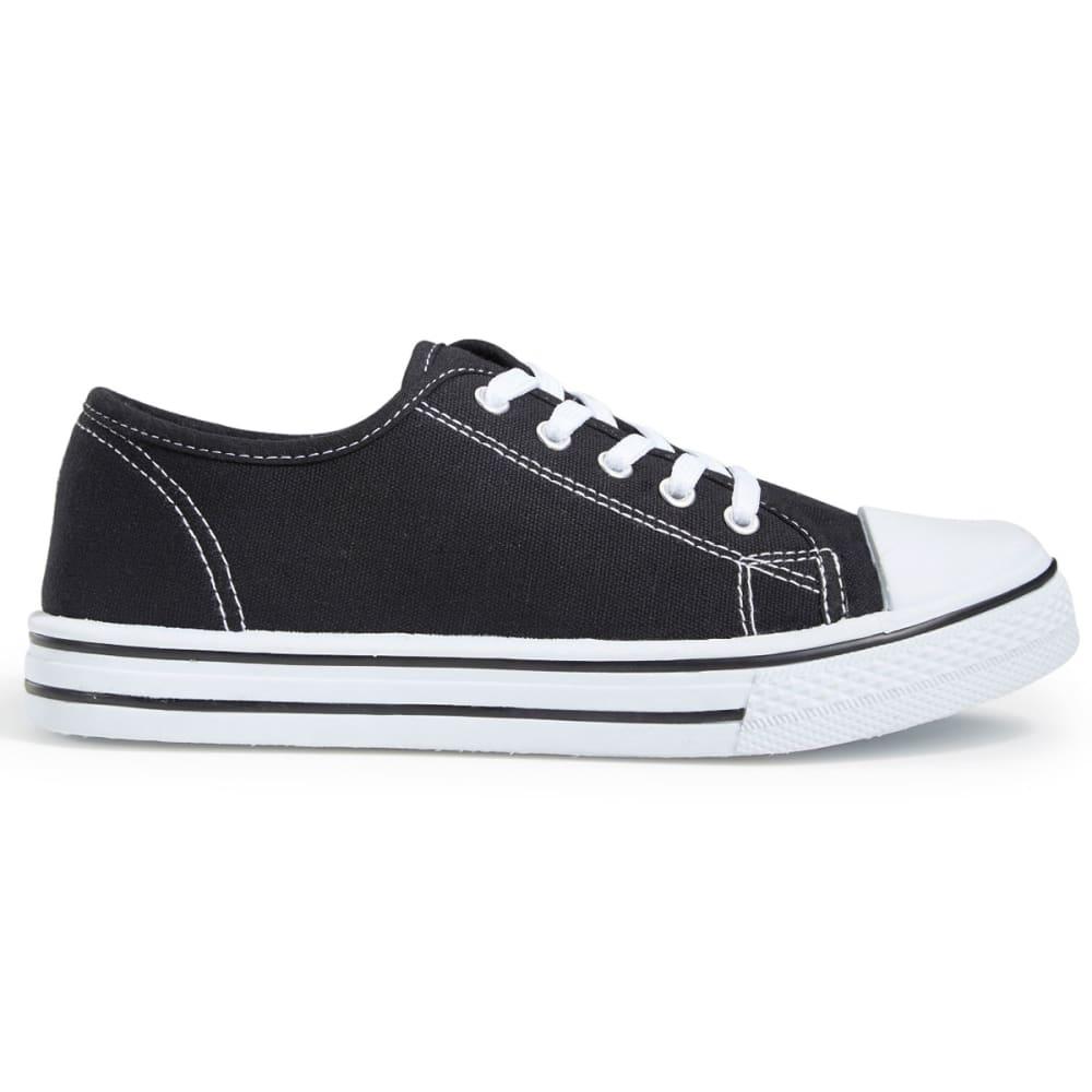 OLIVIA MILLER Women's Canvas Low-Top Sneakers, Black - BLACK