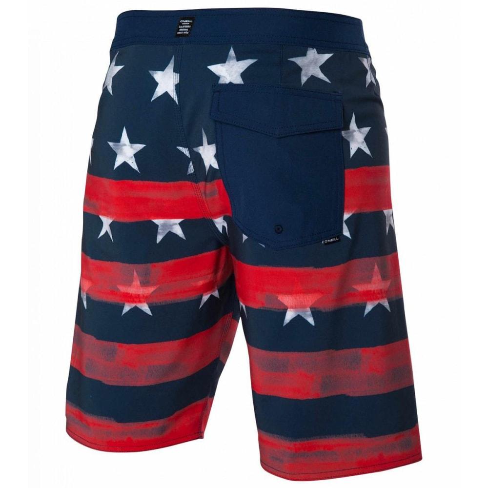 O'NEILL Men's 20 In. Hyperfreak Star Spangled Boardshorts - RED WHITE BLUE