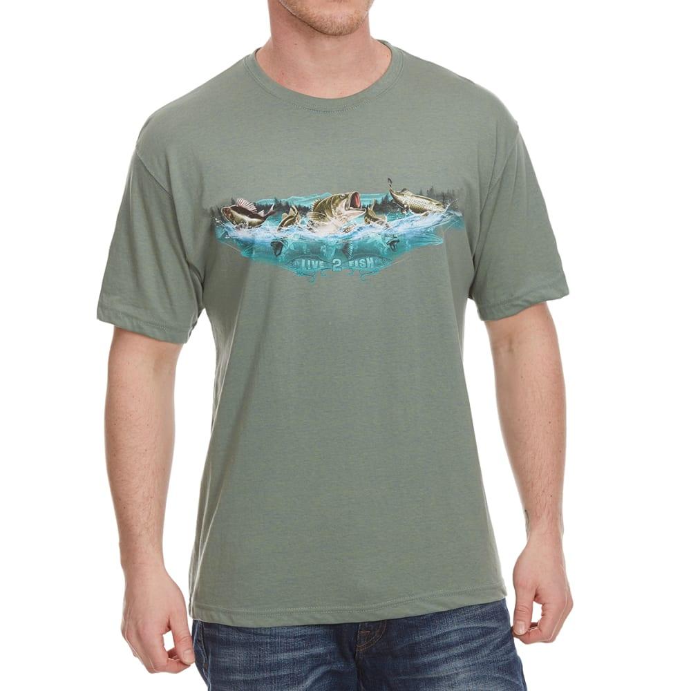 NEWPORT BLUE Men's Fish To Live Short Sleeve Tee - HTR HEDGE GREEN -314