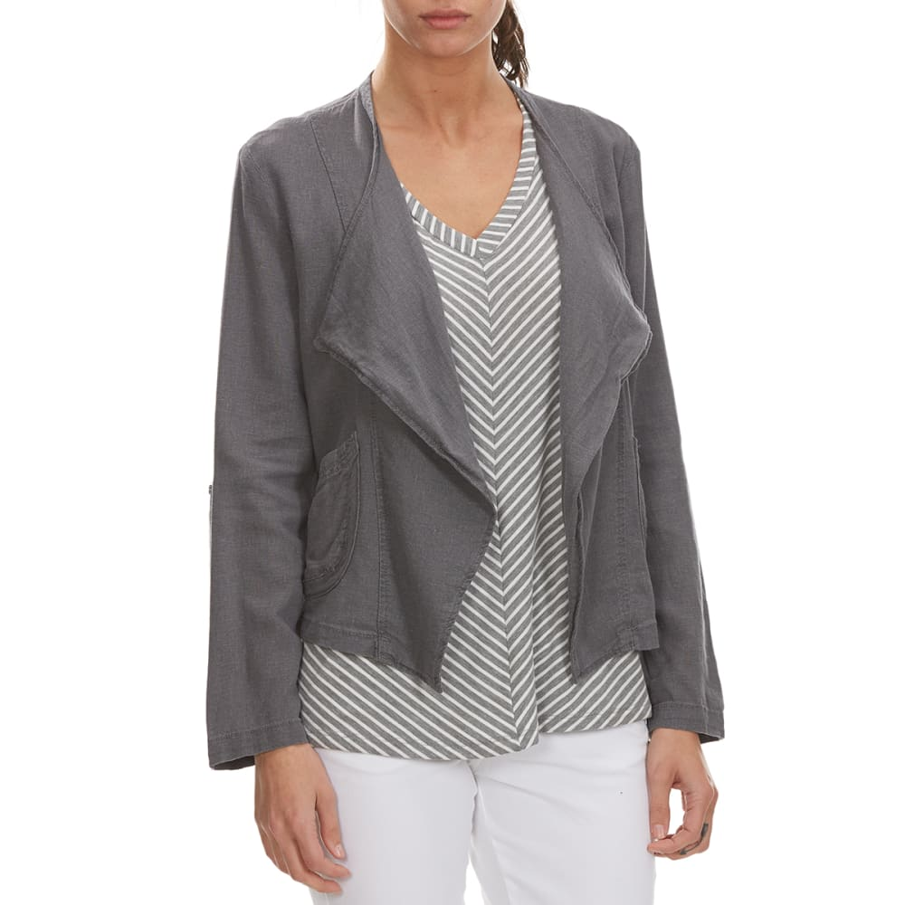 SUPPLIES BY UNIONBAY Women's Adaline Linen Jacket - 056J-LT GALAXY GREY