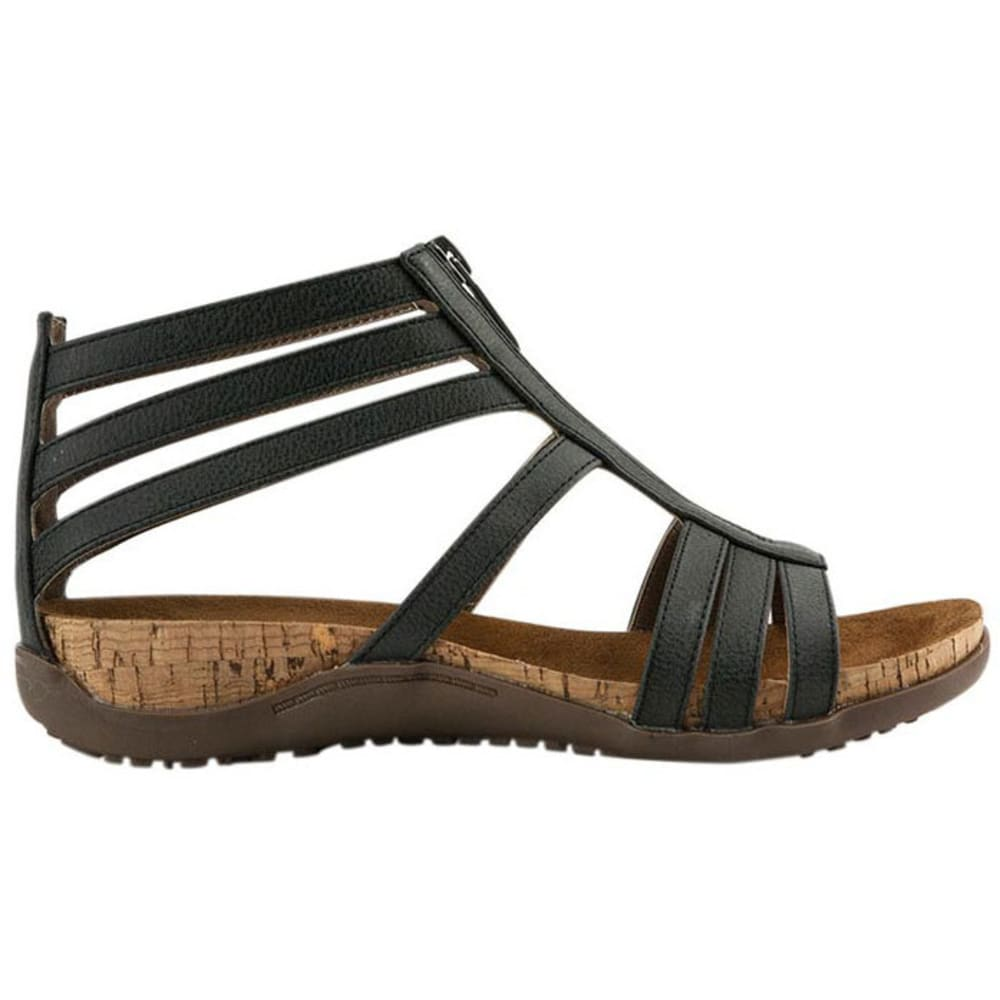 BEARPAW Women's Layla Zip Sandals, Solid Black - BLACK