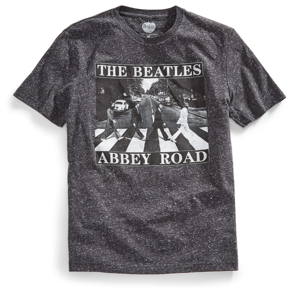 HYBRID Guys' Beatles Abbey Road Speckled Jersey Short-Sleeve Tee - BLACK