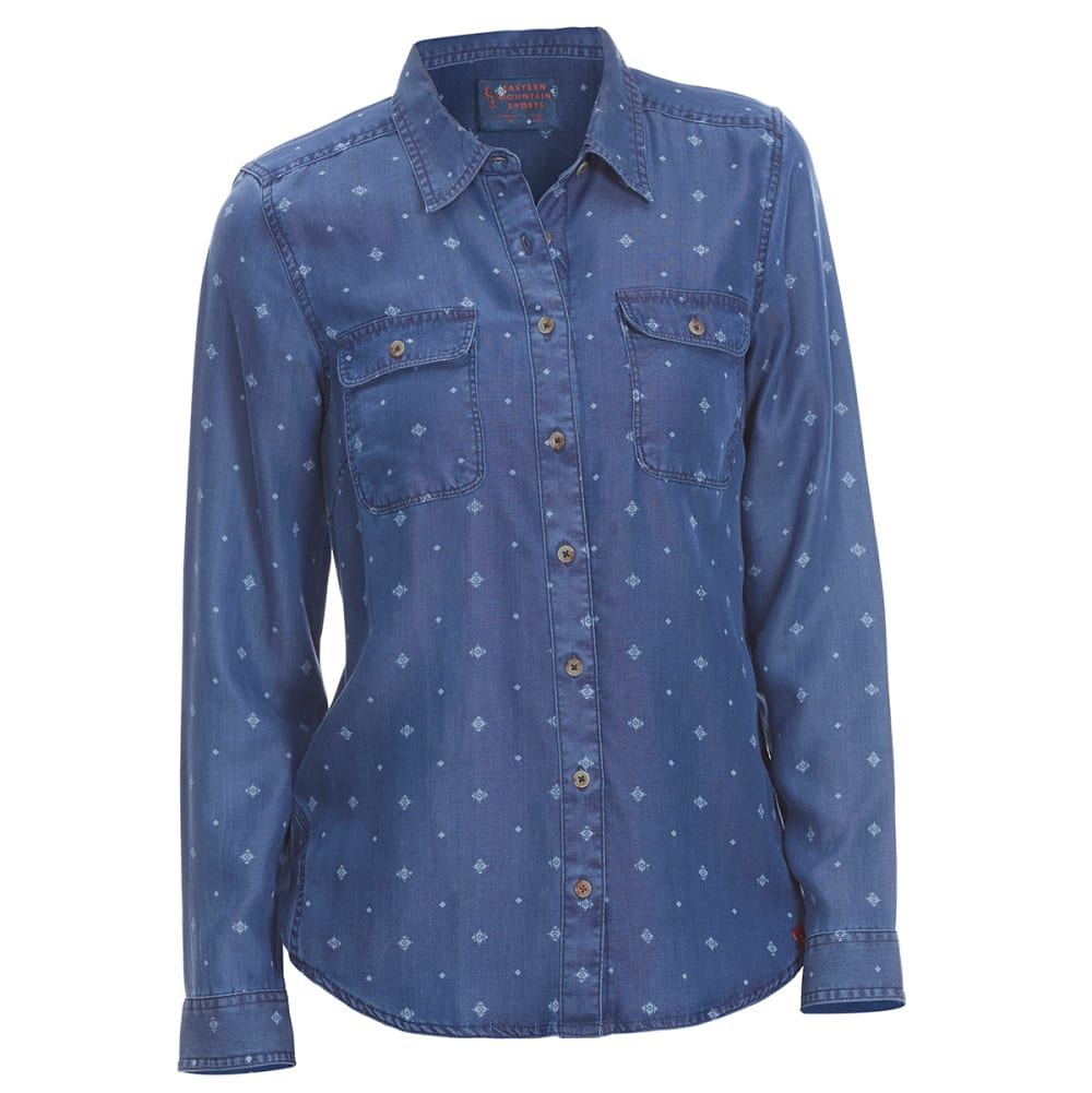 Ems(R) Women's Chambray Print Long-Sleeve Shirt - Various Patterns, XS