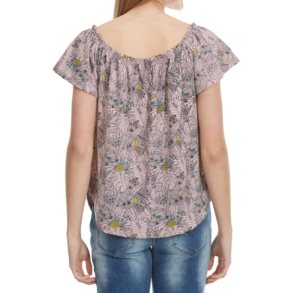 HYBRID Juniors' Printed Cold Shoulder Top - JRSM105-PINEAPPLE PA