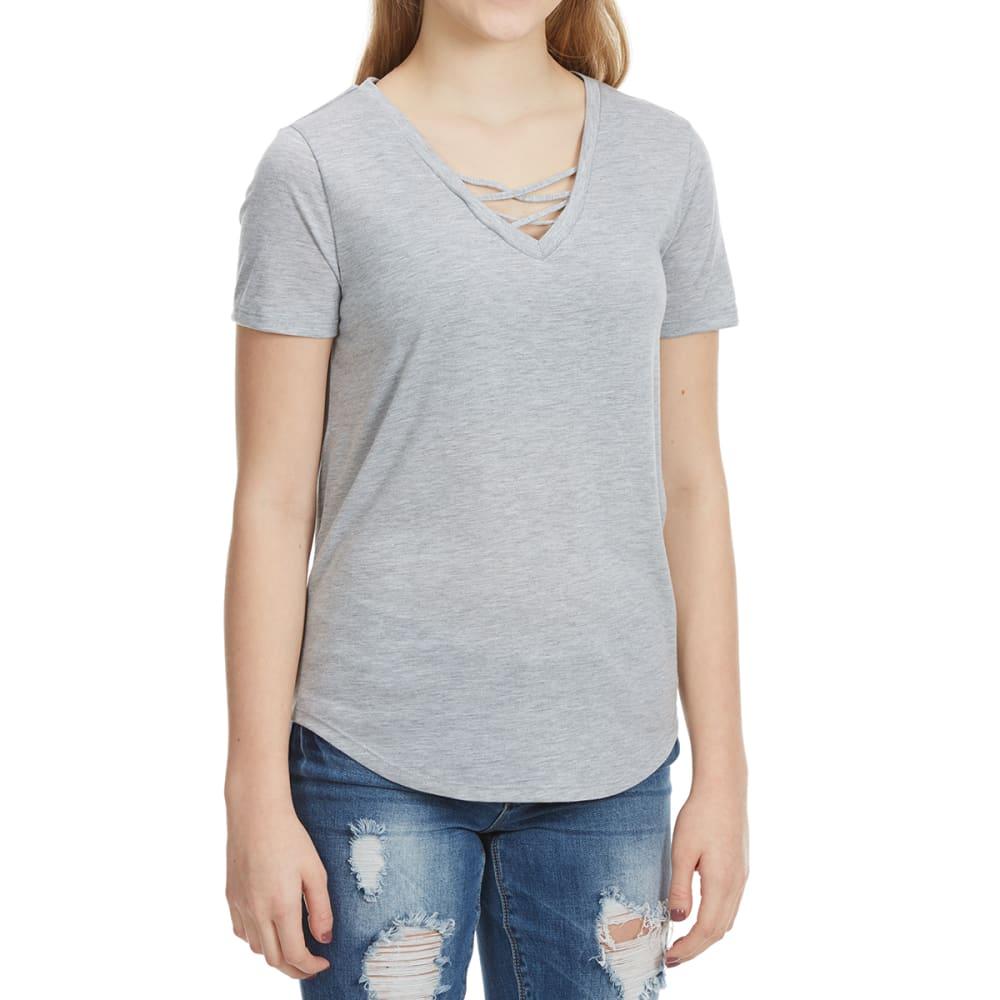 HYBRID Juniors' Crisscross Front Short-Sleeve Tee - HEATHER GREY