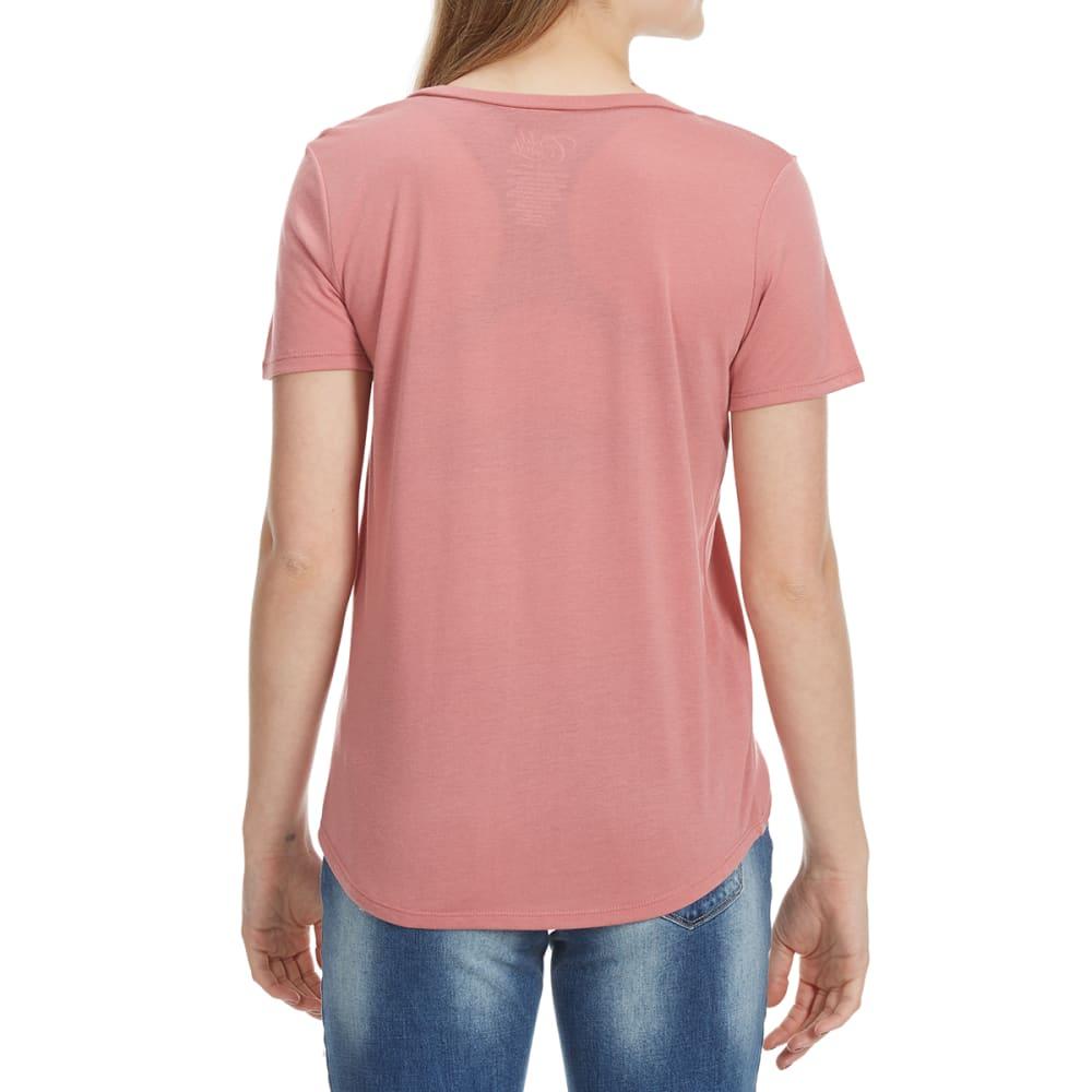 HYBRID Juniors' Crisscross Front Short-Sleeve Tee - DESERT ROSE