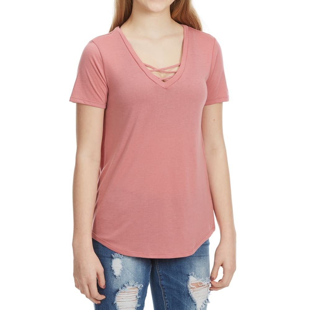 HYBRID Juniors' Crisscross Front Short-Sleeve Tee - DESERT ROSE
