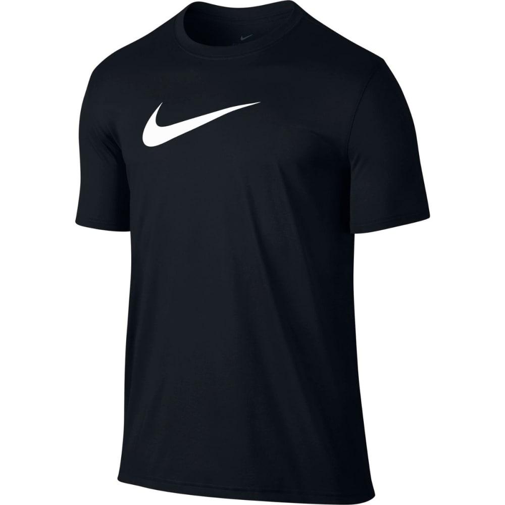 NIKE Men's Dry Breathe Swoosh Logo Short-Sleeve Tee - BLACK/WHITE-010
