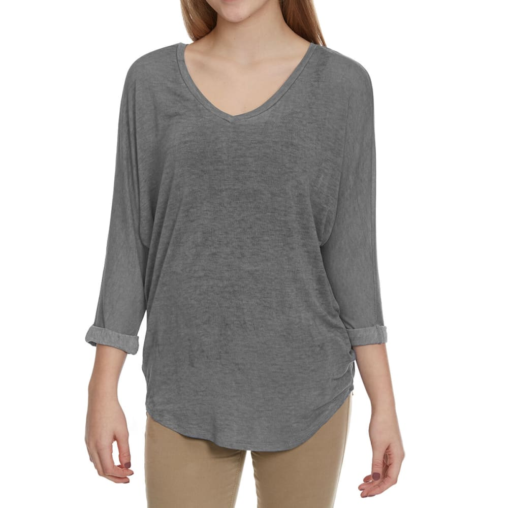 FEMME Women's Mineral Wash Dolman Sleeve Shirt - CHARCOAL