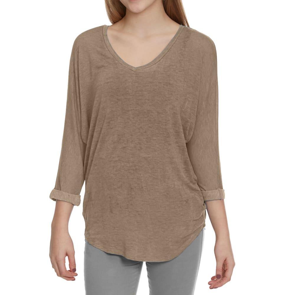 FEMME Women's Mineral Wash Dolman Sleeve Shirt - KHAKI