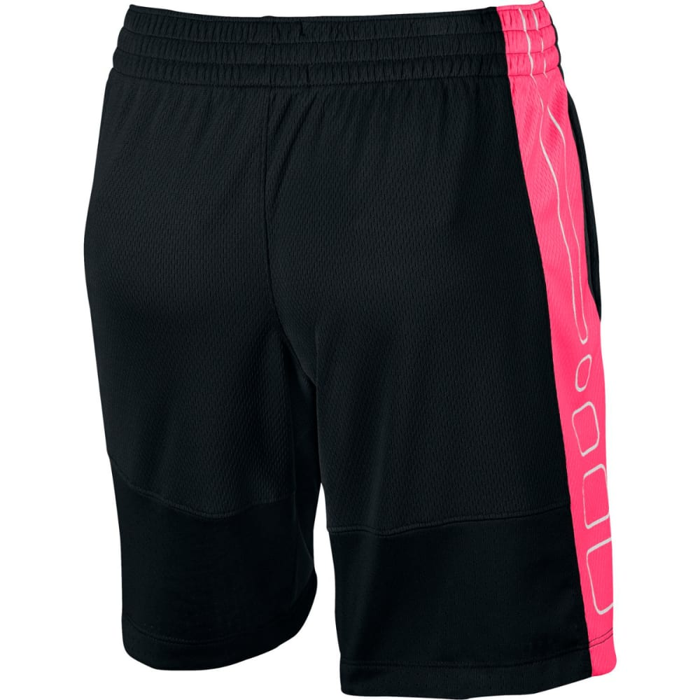 NIKE Girls' Elite Basketball Shorts - BLK/WHT/METSILVER011