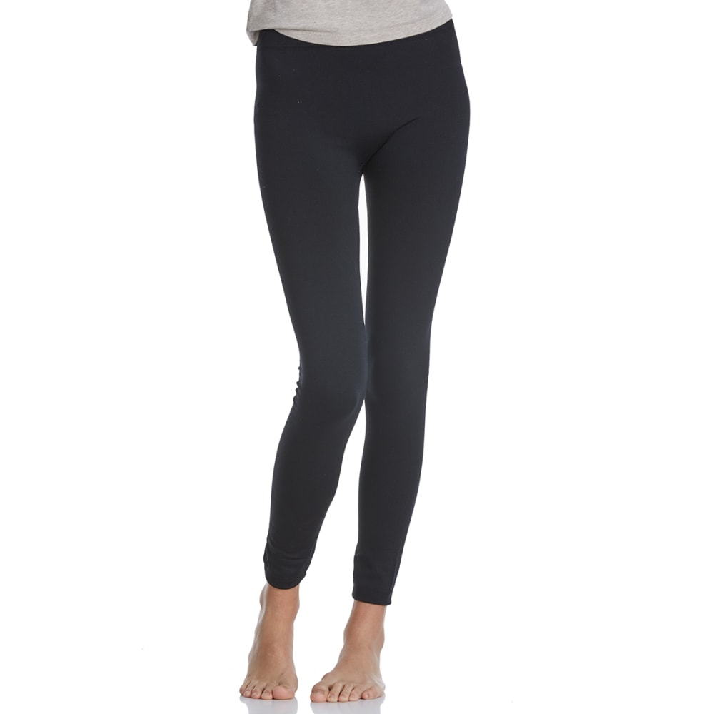 POOF Juniors' Solid Fleece-Lined Leggings - BLACK