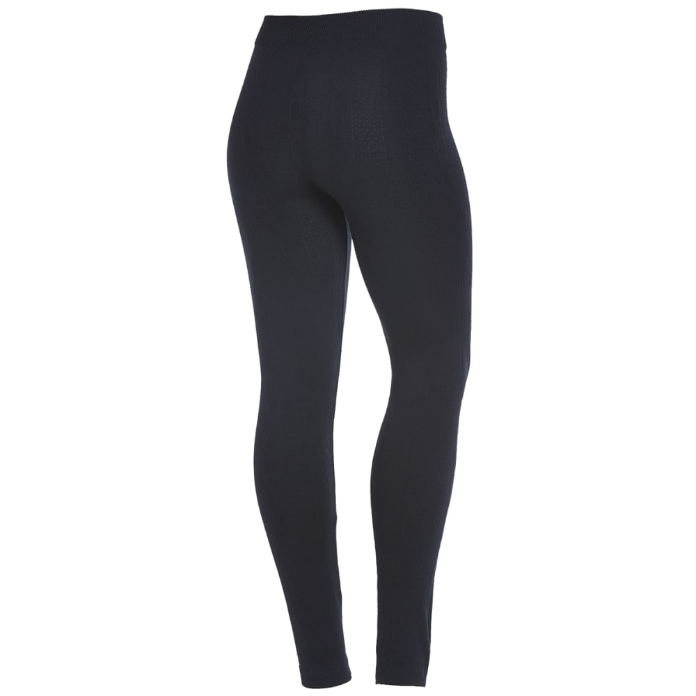 POOF Juniors' Jacquard Fleece-Lined Leggings - BLACK