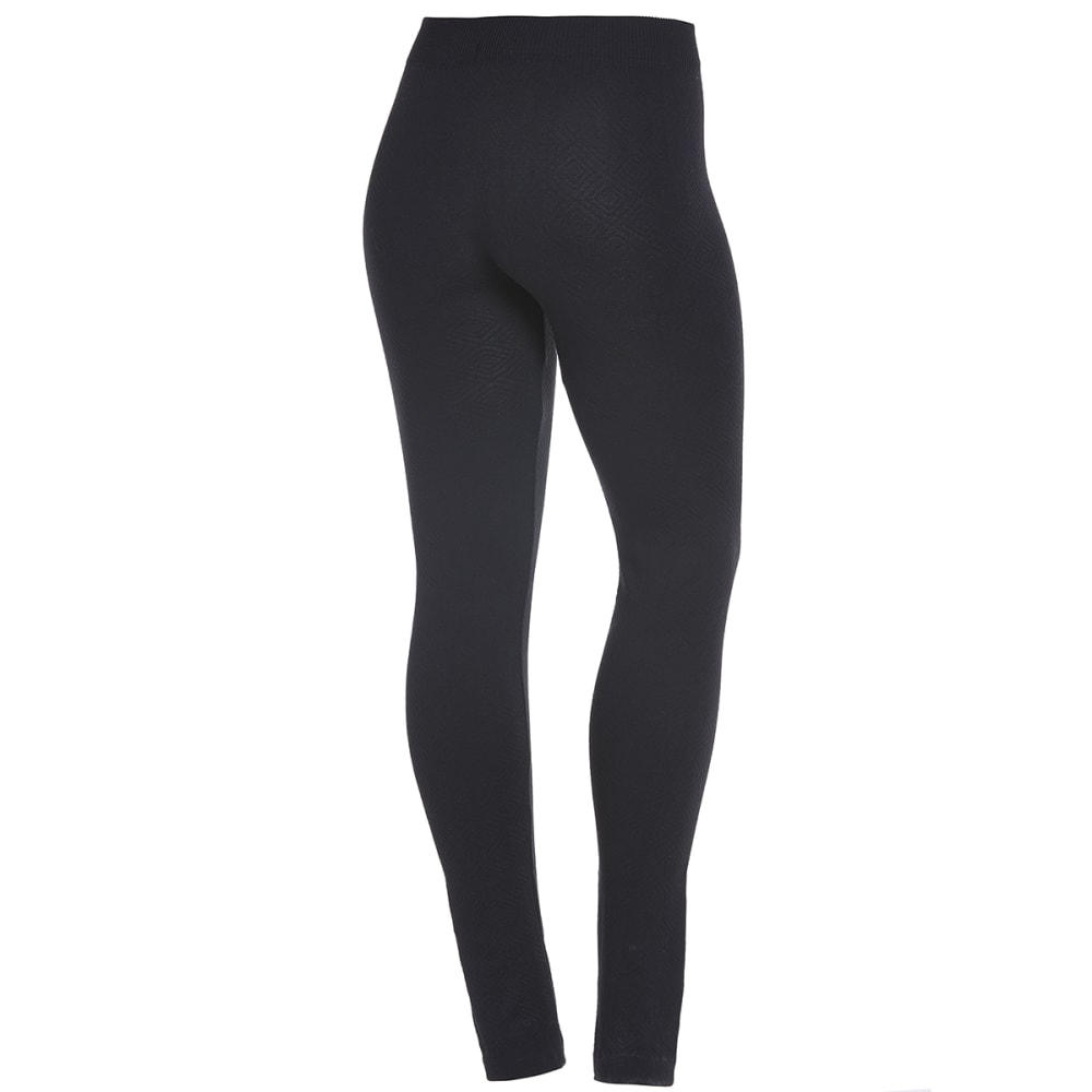 POOF Juniors' Jacquard Fleece-Lined Leggings - BLACK