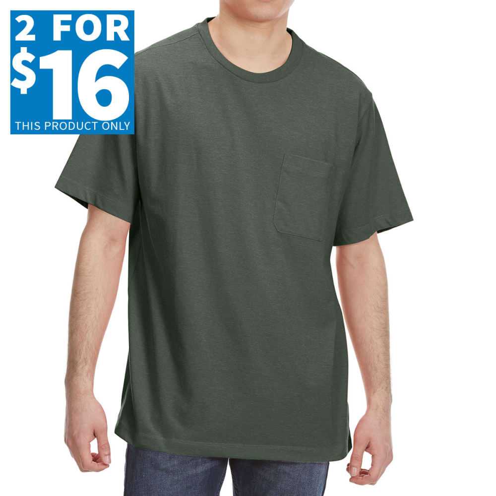 RUGGED TRAILS Men's Short Sleeve Solid Crewneck Tee - OLIVE HEATHER