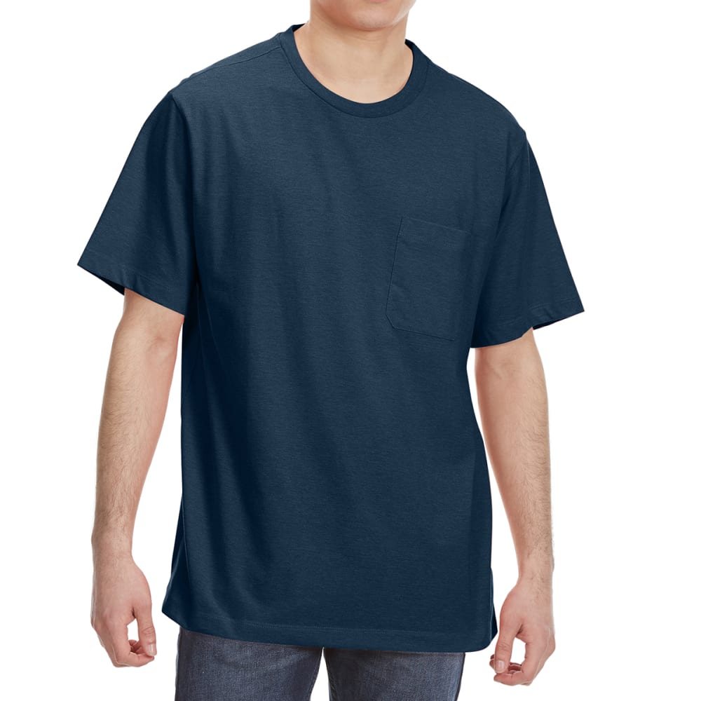 RUGGED TRAILS Men's Short Sleeve Solid Crewneck Tee - NAVY HEATHER