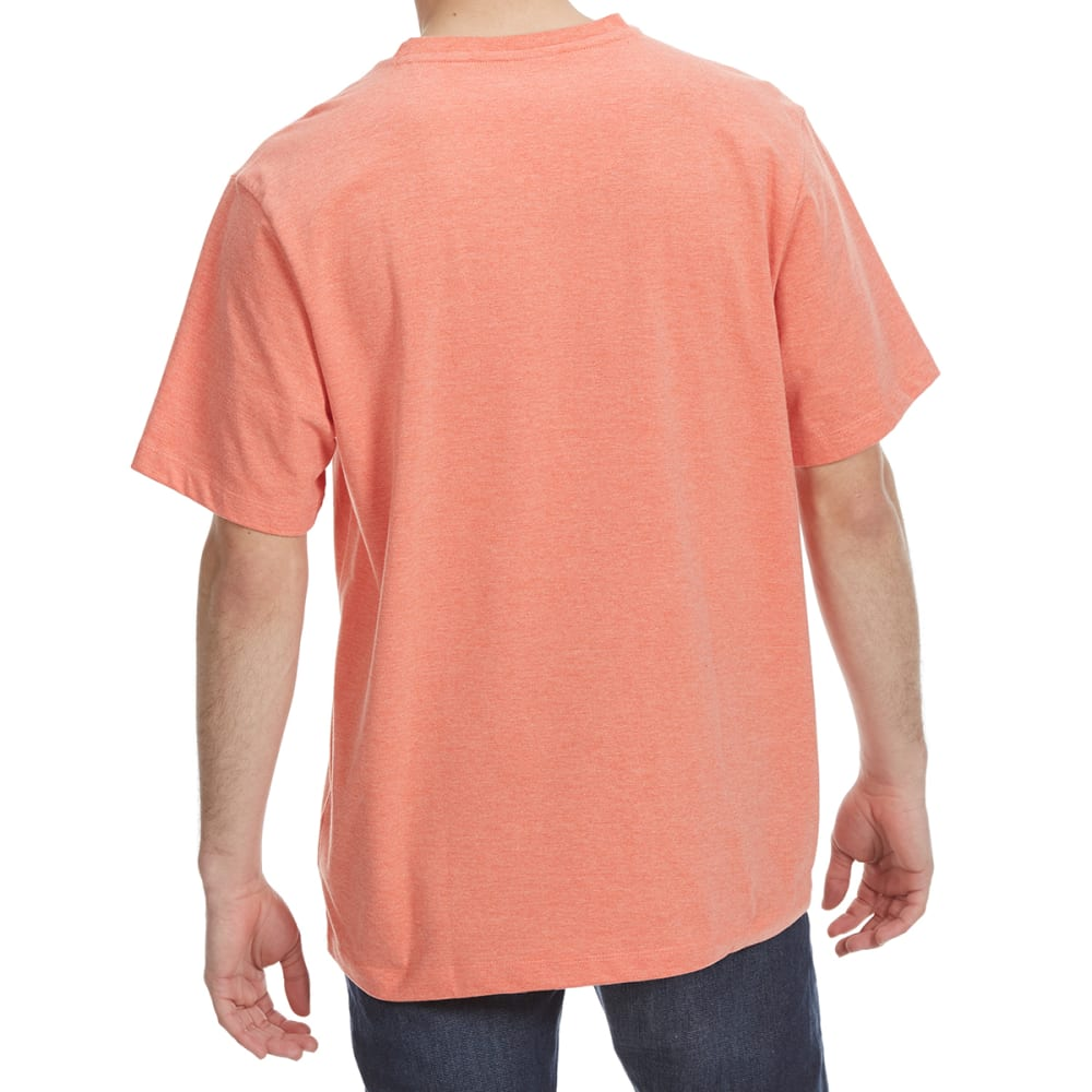 RUGGED TRAILS Men's Short Sleeve Solid Crewneck Tee - TANGELO HTR