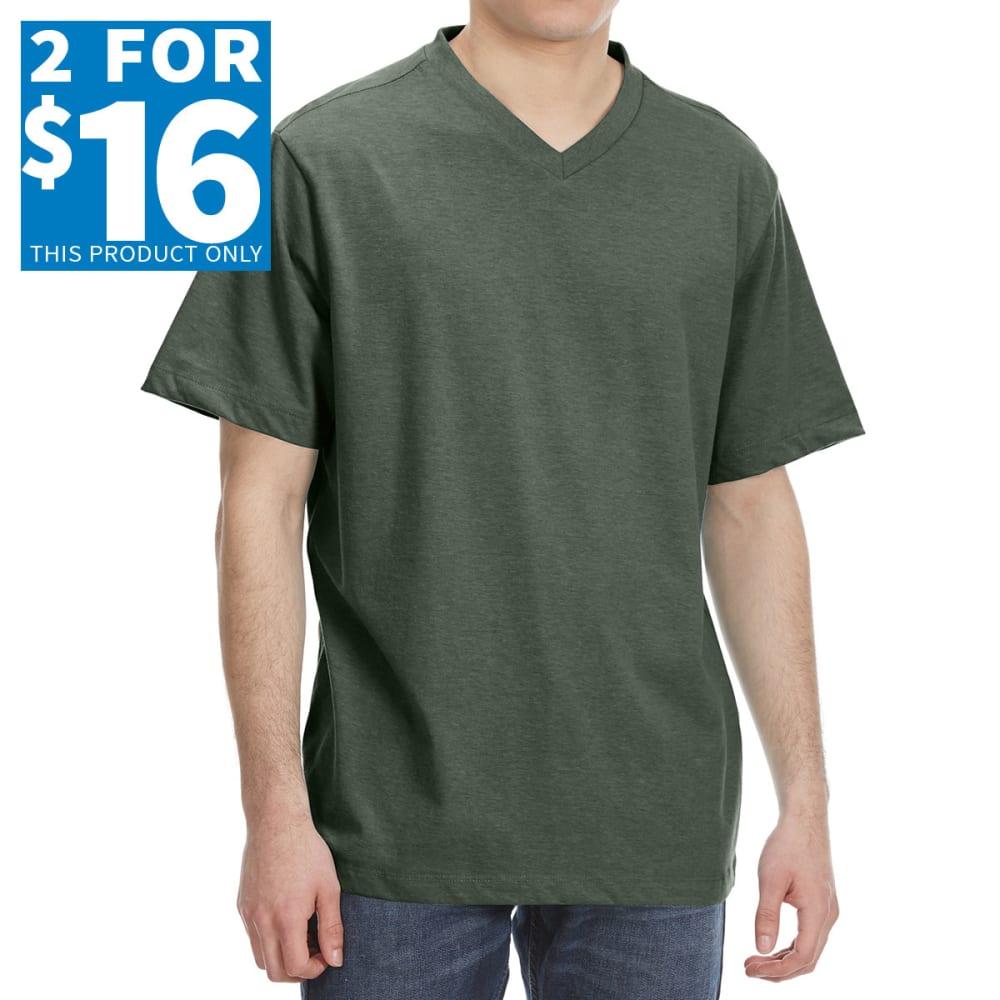 RUGGED TRAILS Men's V-Neck Solid Short Sleeve Tee M