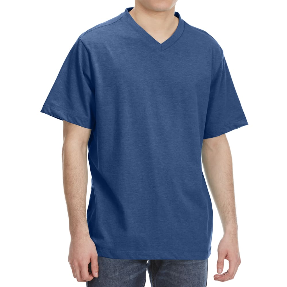 RUGGED TRAILS Men's V-Neck Solid Short Sleeve Tee - DENIM HTR