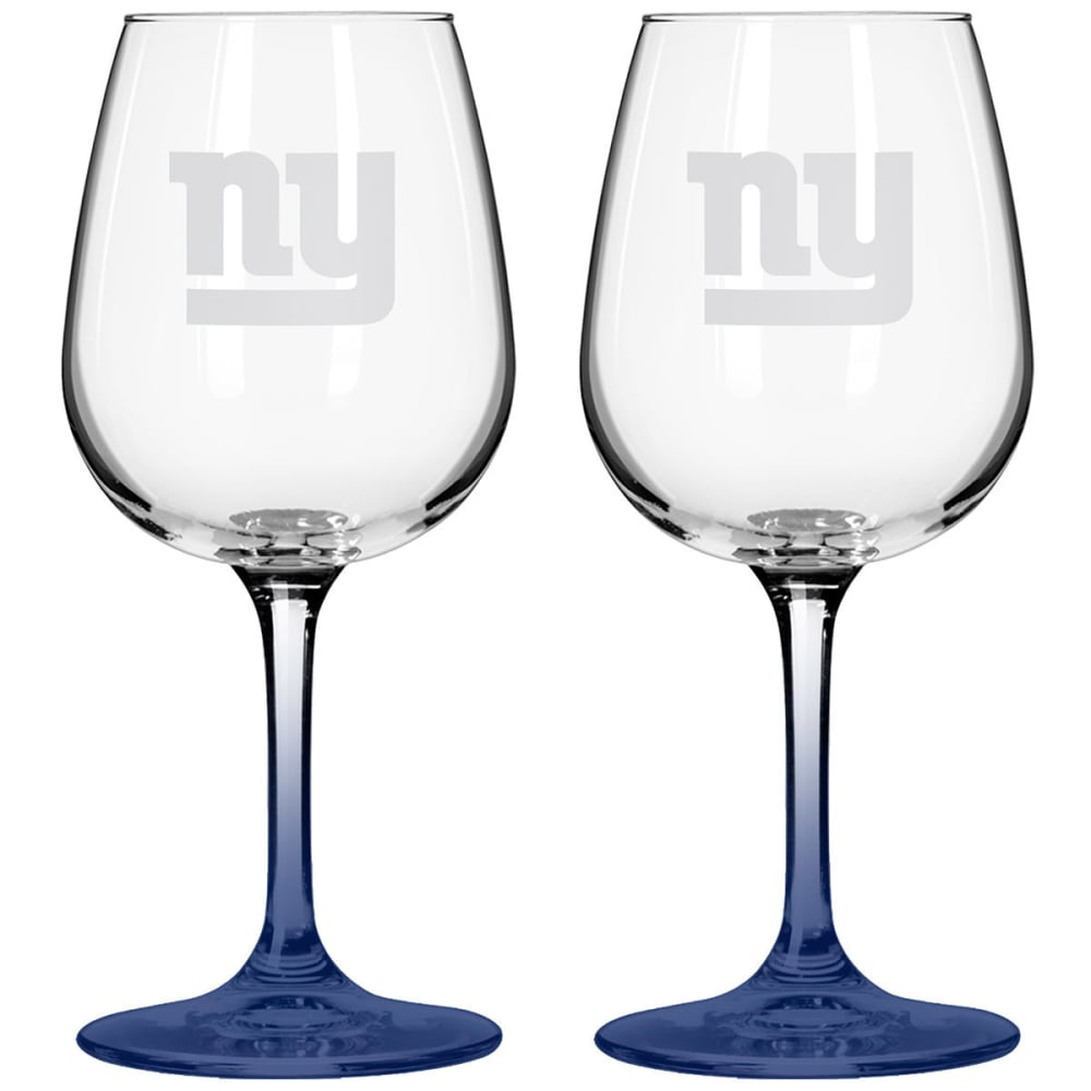 NEW YORK GIANTS Satin Etched Wine Glasses, Set of 2 - GIANTS