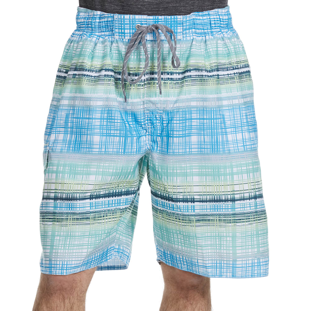 NEWPORT BLUE Men's Vintage Plaid Swim Shorts - BLUE/GRN-0444